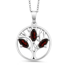 0.78 Ct Marquise Red Garnet 925 Sterling Silver Tree of Life