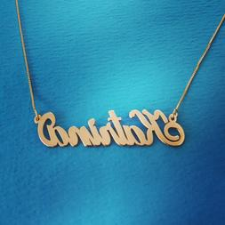 14k Solid Yellow Gold Personalized .8 mm Name Pendant, Gold