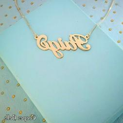 Name Charm with chain / real 14k gold name necklace