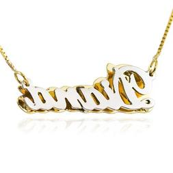 14K Two Tone Gold Double Plate Personalized Name Necklace