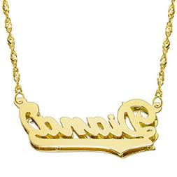 14K Yellow Gold Personalized Double Plate 3D Name Necklace -
