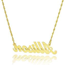 14K Yellow Gold Personalized Stardust Finish Name Necklace