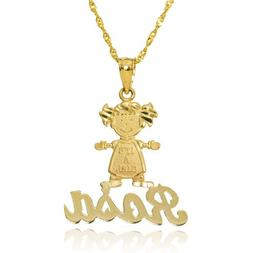 "14k Yellow Gold ""IT'S A GIRL"" Cursive Personalize Name Baby"