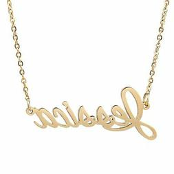 AOLO 14K Golden Plated Jessica Name Necklace for Best Friend