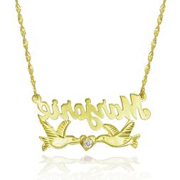 14K Two Tone Gold Personalized Nameplate Necklace with CZ -