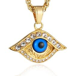 HZMAN 18k Gold Plated Cz Inlay Stainless Steel Blue Evil Eye