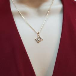 18K Gold Plated Initial Letter Name Pendant Necklace with Ch