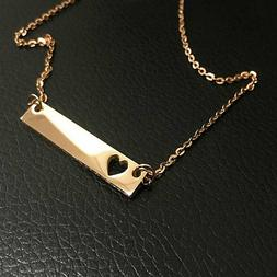 18K Yellow Gold Personalized Name Bar Necklace, Custom Engra