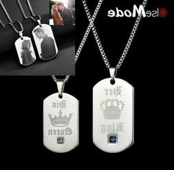 2 Customized Engrave Lover Name Necklace Her King His Queen