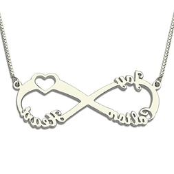 3 Names Silver Heart Infinity Necklace Infinity Nameplate Pe