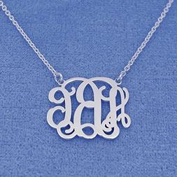 3 Initials Small Dainty Silver Monogram Necklace 3/4 Inch Br