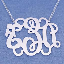 Large 3 Initials Monogram Necklace Silver 1.75 Inch Monogram