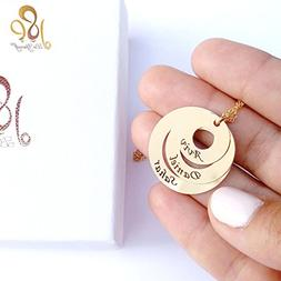 3 Rings necklace, engraved rings necklace, inscribed names n