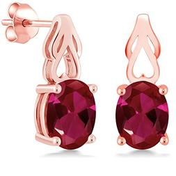 4.00 Ct Oval Red Created Ruby 18K Rose Gold Plated Silver Ea