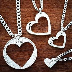 4 Best Friend Heart Necklaces, Custom Names Engraved, Love N