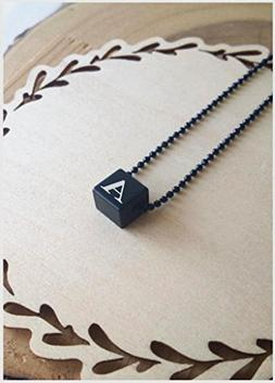 4 sides initials necklace, Cube Necklace, personalized initi