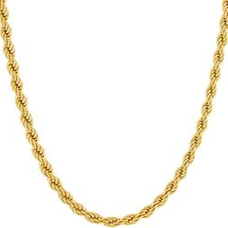 Lifetime Jewelry 4MM Rope Chain, 24K Gold with Inlaid Bronze