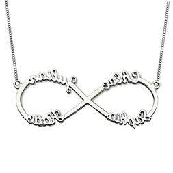 925 Sterling Silver Personalized Infinity Name Necklace Pend