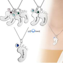925 Silver Custom Name Kids Women Necklace Baby Feet Pendant