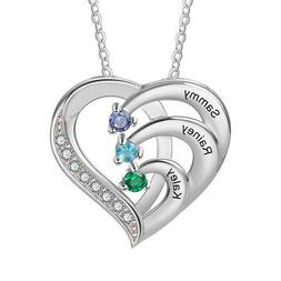 925 Silver Custom Names Women Necklace Birthstone Pendant Ch