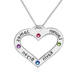 HACOOL 925 Sterling Silver Personalized Family Heart Name Ne