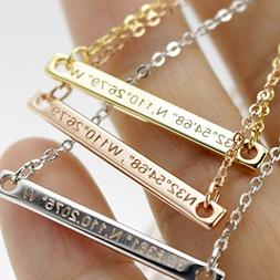 A Coordinate bar Necklace Customized Diamond Engraving 16k G