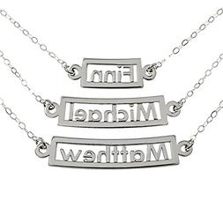 AJ's Collection Personalized Necklace Curved 3 Name Sterling