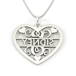 AJ's Collection Sterling Silver Fancy Heart Initial and Name