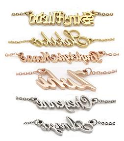 AOLO Personalized Name Necklace Tiny Charm Necklace in Slive