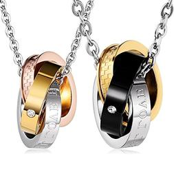 Aienid Stainless Steel Couple Necklace for Men and Women Ete