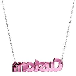 Body Candy Steel Chain Customizable Pink Lucite Acrylic Pers