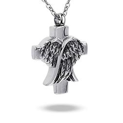 COCO Park Angel Wing Cross Pendant Urn Necklace for Ashes Ke