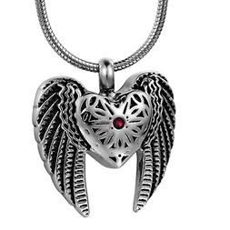 COCO Park Eagle Wing & Love Heart Cremation Necklace for Ash