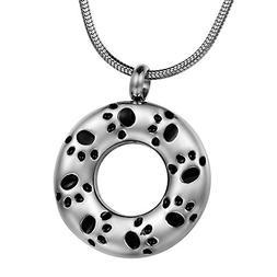 COCO Park Engraving Dog Paw Circle Ring Pet Urn Necklaces fo