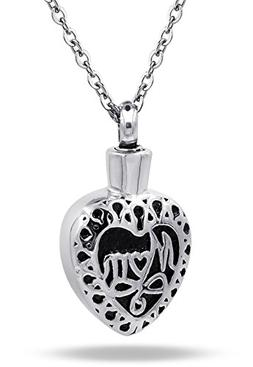 COCO Park Mom Love Heart Urn Pendant Necklaces Stainless Ste