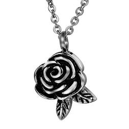 COCO Park Rose Flower & Leaf Cremation Jewelry Stainless Ste
