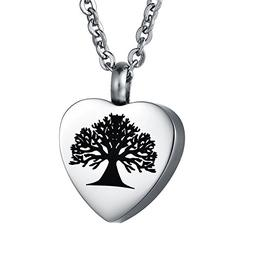 COCO Park Tree of Life Love Heart Urn Pendant Necklace Crema
