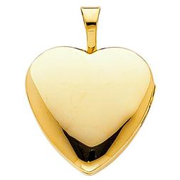 CUSTOM ENGRAVED - 14K Yellow Gold Plain Heart Locket Charm P