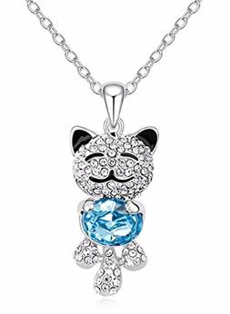 Caperci Cute Lucky Cat With SWAROVSKI ELEMENTS Blue Crystal