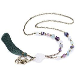 Crimmy - Fashion Fluorite Necklace Lanyards for Women - Copp