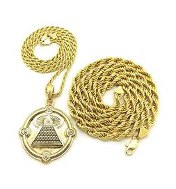 "Egyptian Eye of Horus Pyramid Pendant 24"",30"" Rope Chain 2 N"