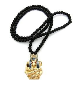 "Egyptian God Anubis Pendant 6mm 30"" Wooden Bead Necklace Gol"