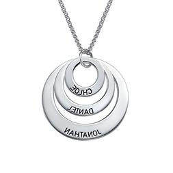 Engraved Jewelry for Moms - Three Circle Necklace in 925 Sil