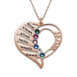 Engraved Mom Necklace w/Swarovski Birthstones - Personalized