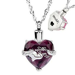 Glass Cremation Jewelry Always in My Heart Birthstone Pendan