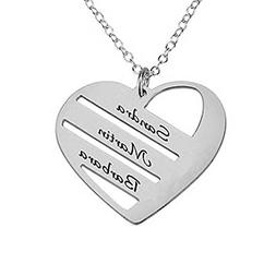 HACOOL 925 Sterling Silver Engrave Three Name On Love Pendan