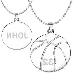 HACOOL 925 Sterling Silver Personalized Unisex Basketball Na