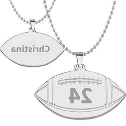 HACOOL 925 Sterling Silver Personalized Unisex Football Name