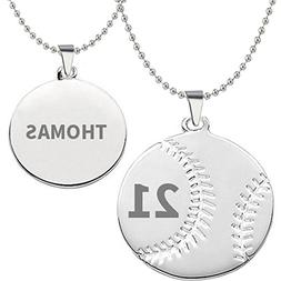HACOOL 925 Sterling Silver Personalized Unisex Men Baseball