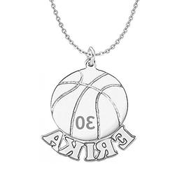 HACOOL 925 Sterling Silver Personalized Unisex Men Basketbal